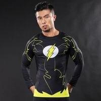 YENI mens Sıkıştırma Gömlek Vücut Geliştirme Cilt Sıkı Uzun Kollu Formalar 3D Baskılı Superman flaş Clothings