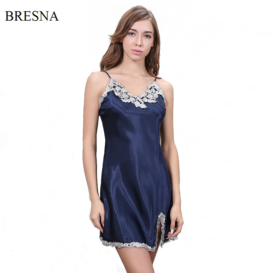 BRESNA Flower Embroidery Nightdress Spaghetti Strap Nightgown Stain Womens Sleepwear Split Hemline Sexy Negligees Home Clothes