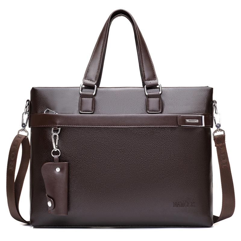 New Luxury Leather Business Men's Briefcase Male Fashion Shoulder Bag Men Messenger Bag Boy Casual Tote Computer Bag 14 Inch