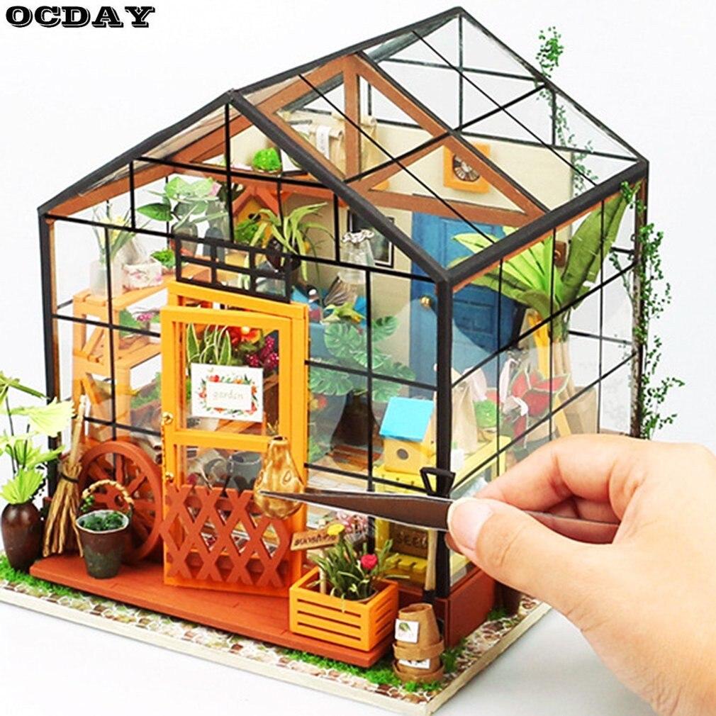 Robotime 3D Деревянный DIY Кукольный головоломки Миниатюра ручной работы Мебель модель здания украшения дома дереву подарок для детей