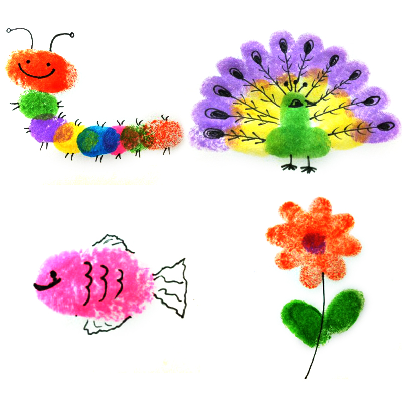 24 Color Multi-Color Ink Pads Children Fingerprint Picture Finger Painting Stamp Pads Pigment Kids Craft DIY Toys Hot S