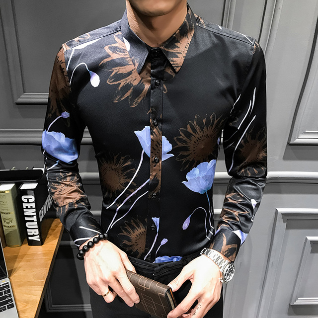 Men Slim Fit Fashion Stylish Print Shirt Long Sleeve