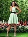 Cheap Bridesmaid Dress 2016 New Arrival Sage Plus Sizes A-line Flower Sash Square Wedding Party Dress