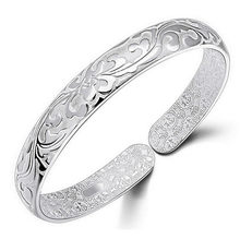 New 999 silver jewelry bracelets for women floral carved Korean style adjustable indian jewelry wholesale bracelets bangles 0529(China)