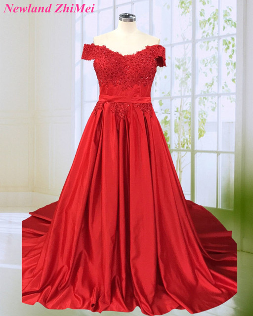 097c469bf4 Hot Red Ball Gown Prom Night Dresses Charming Woman Off the Shoulder V Neck  Beaded Applique Satin Dance Dress 2018