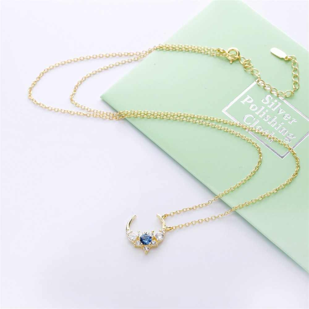 Slovecabin 925 Sterling Silver Blue Zircon CZ Moon จี้สร้อยคอยาว CHAIN GOLD Jewellry 2019 แฟชั่นเครื่องประดับงานแต่งงาน