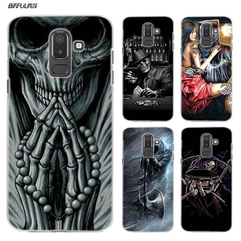 Grim Reaper Skull Phone Case for Samsung Galaxy A9 A7 A8 A6 + Plus 2018 A5 A3 2017 Hard Plastic Clear Cover Shell