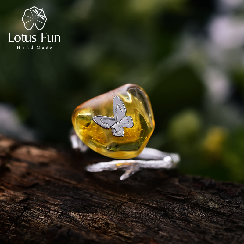 Lotus Fun Real 925 Sterling Silver Natural Amber Handmade Designer Fine Jewelry Looking Back Butterfly Rings For Women Bijoux
