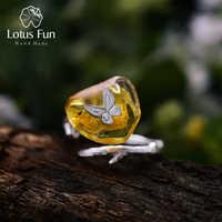 Lotus Fun réel 925 argent Sterling naturel ambre fait à la main Designer Bijoux fins à la recherche de retour papillon anneaux pour les femmes Bijoux