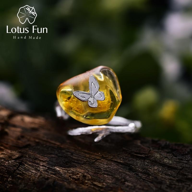 Lotus Plaisir Réel 925 Sterling Argent ambre naturel À La Main Designer Bijoux fins Regarder En Arrière Butterfully bagues pour femmes Bijoux