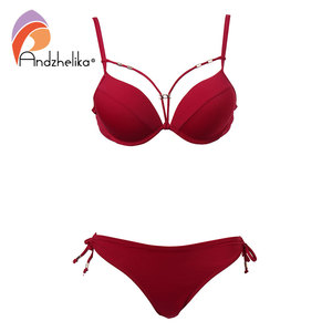 Image 4 - Anadzhelia סקסי תחבושת Push Up ביקיני סט מוצק בגדי ים נשים 2020 קיץ שתי חתיכה בגד ים חוף רחצה חליפת AK5922 2
