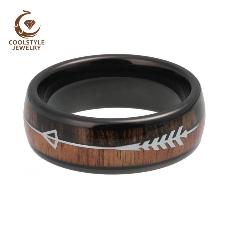 Tungsten Carbide Rings Wedding-Bands Wood-Arrow-Inlay Domed Shiny Womens Polished Comfort