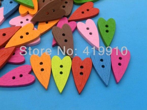 Free shipping -100PCs Randomly Mixed Heart 2 Holes  Wood Painting Sewing Buttons Scrapbooking 20mmx10mm J1529