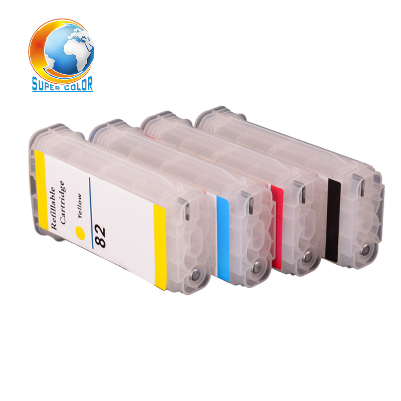 Top quality 130ml for hp 10 82 refill Ink cartridge for hp designjet 500 800 510 refillable ink cartridge with chips 320ml 4 colors refillable ink cartridge for hp 82 with permanent chip for hp 510 printer bulk ink cartridge