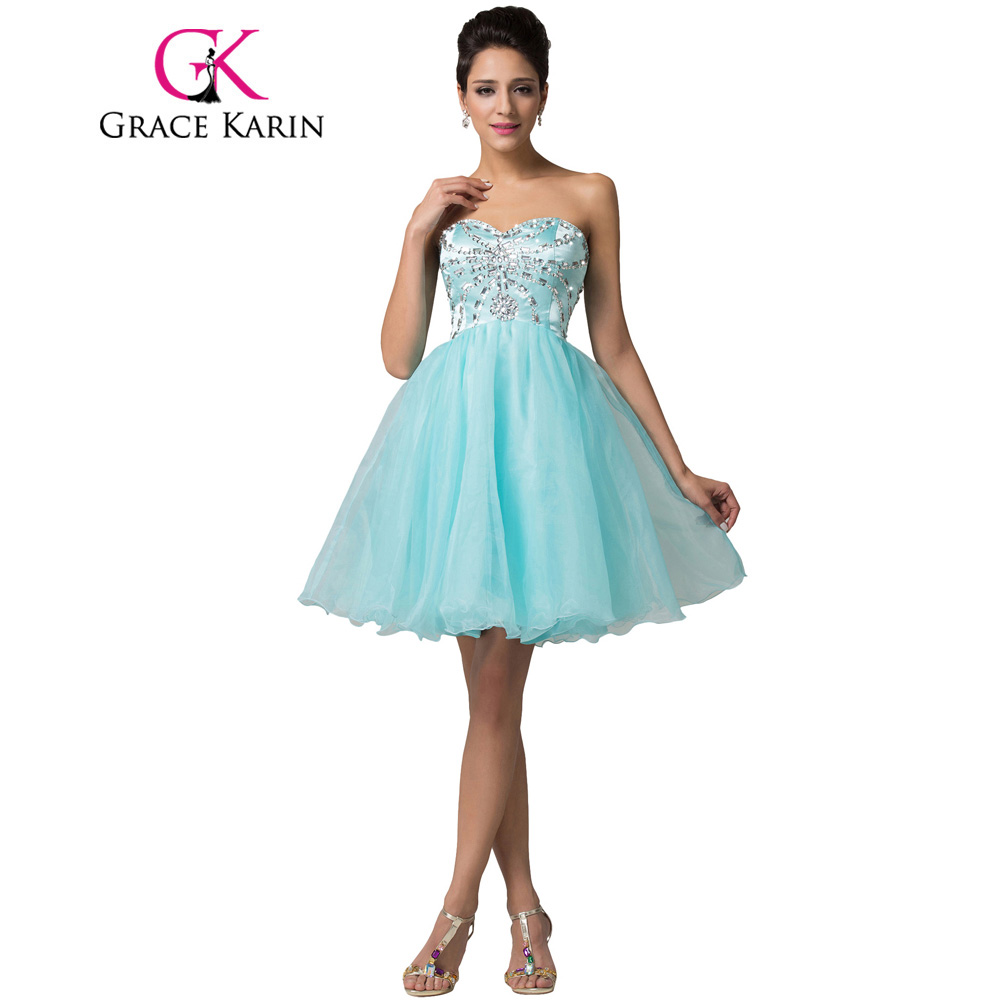 Grace Karin Short Homecoming Dresses Ball Gowns Sweetheart Blue Organza Knee Length Birthday Party Gowns Special Occasion Dress