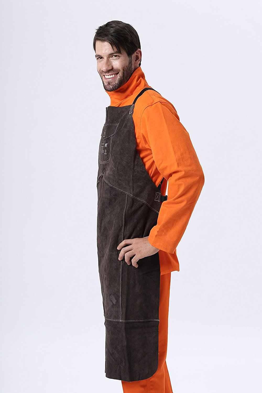 c47966ea7169c Welding Apron Premium Leather Welder Protect Clothing Carpenter Blacksmith  Garden Cowhide Clothing 91X58CM Charcoal Brown Color