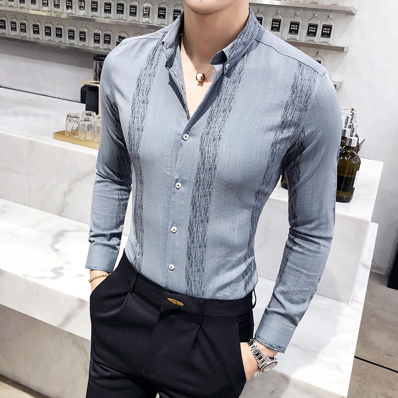 5621f3c7a34 Осень 2018 г. рубашки в полоску мужские повседневное Slim Fit Camisa  социальной Masculina бизнес Hemd