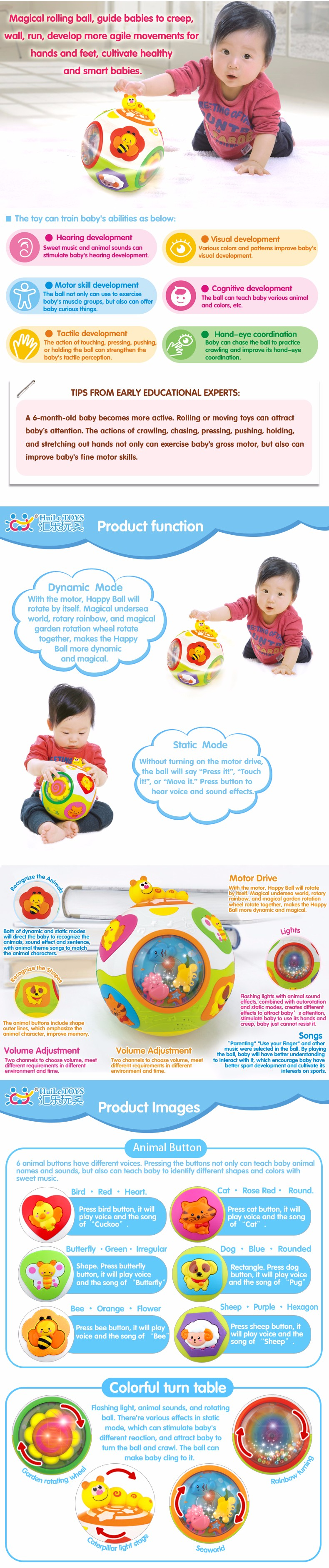 Baby Puzzle Electronic Ball Kids Toys Musical Instruments Early