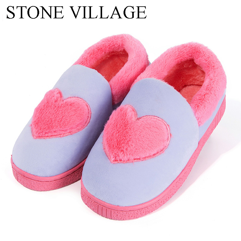 Winter Ladies Home Slippers Lover Heart-Shaped Women Slippers Men Warm Cotton Shoes Woman Non-Slip Waterproof Flats Indoor Shoes недорго, оригинальная цена