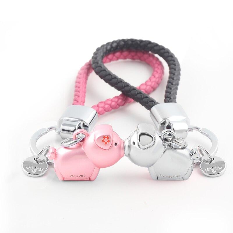 Milesi 3D Kiss Pig Couple Keychain For Lovers Gift Trinket Lovely Key Holder Women Present Chaveiro Sleutelhanger Car Keyring
