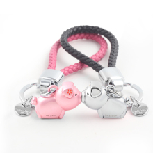 Milesi 3D kiss pig couple keychain for Lovers Gift Trinket lovely key holder women Chaveiro Innovative Items with gift box K0192 цена и фото