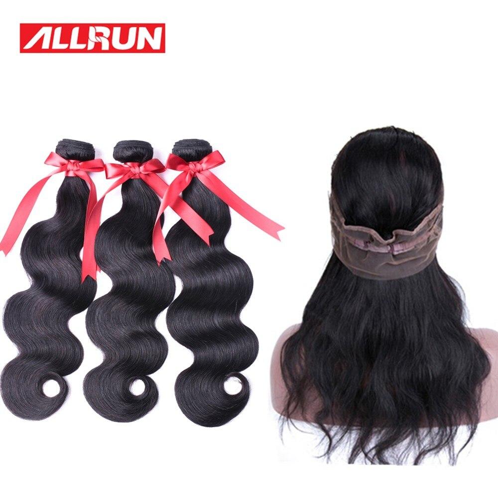 Allrun 360 Lace Frontal Closure med Bundes Brazilian Body Wave Human - Mänskligt hår (svart)