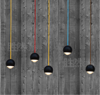 Black Aluminum Crystal Ball Pendant Light Loft Novel Led 5w Pendant Lamp For Parlor Dining Roon