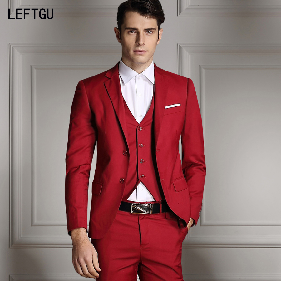 Red Dress Pants For Men S -  jackets vest pants 2016 new men suits slim custom fit tuxedo brand fashion bridegroon business dress wedding red suits blazer