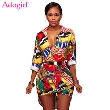 ccedd09b3 Adogirl moda cadena de oro piña vestido de camisa de impresión floral turn  Abrigos de plumas