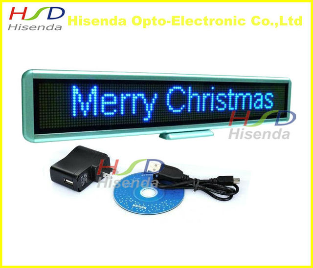 Blue color LED Matrix Sign Scrolling Message Screen Board Advertising Edit by PC/Rechargeable/Multi-language 550mm