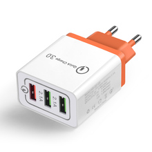 Cargador de teléfono quick usb charge 3,0 adaptadores universales EU/US Plug 3 puertos usb CE certificado para ios android cargador de pared del teléfono