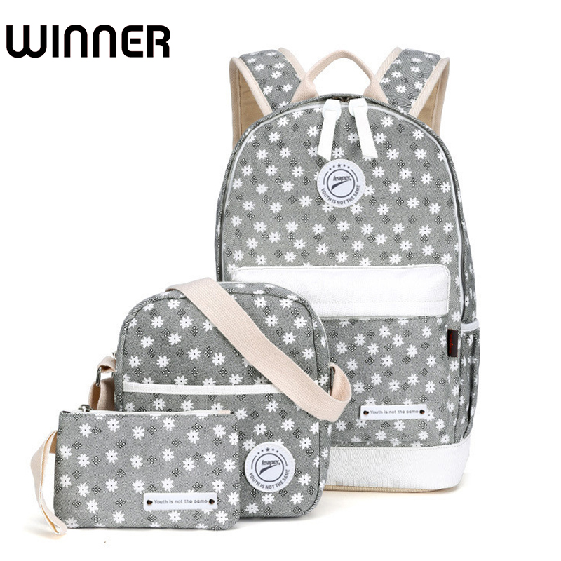 все цены на Winner Canvas Floral Printing Backpack Women School Bags for Teenage Girls Fresh Rucksack Laptop Backpacks Female Bagpack