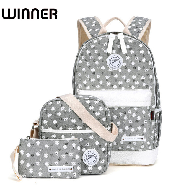 60beba8536c2 Winner Canvas Floral Printing Backpack Women School Bags for Teenage Girls  Fresh Rucksack Laptop Backpacks Female