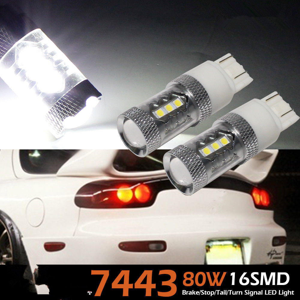 2x VERY BRIGHT 80W T20 7443 WHITE HIGH POWER CREE Chip LED 12V STOP/TAIL LIGHT BULBS CANBUS/Backup Parking Light bulb