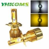 YHKOMS Araba Far H4 LED H7 LED Ampul 3000 K 6000 K H1 H3 H8 H11 9005 HB3 9006 HB4 880 881 H27 LED Çift Renk Sarı Beyaz işık