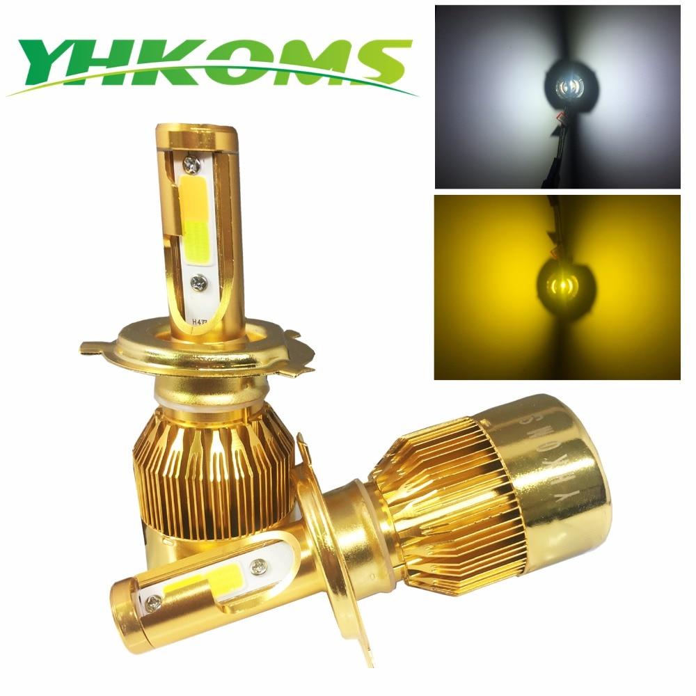 YHKOMS Linterna Del Coche H4 LED H7 Bombilla LED 3000 K 6000 K H1 H3 H8 H11 9005 HB3 HB4 9006 880 881 H27 LLEVÓ Dual Color Blanco Amarillo luz