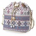 Bohemia Drawstring Canvas Bucket Bag Shoulder Handbags Lady Letter Bucket Multi Purposes Tote Shoulder Crossbody Bag Faux Pearl