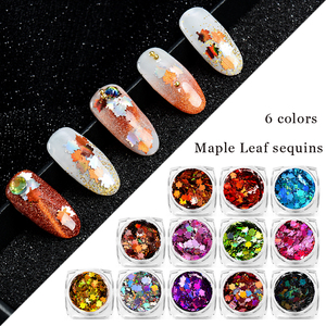 Image 3 - Mtssii maple leaf arte do prego lantejoulas outono design spangles para unhas a laser arte do prego decoração sinfonia do floco do prego aplique 1 pc