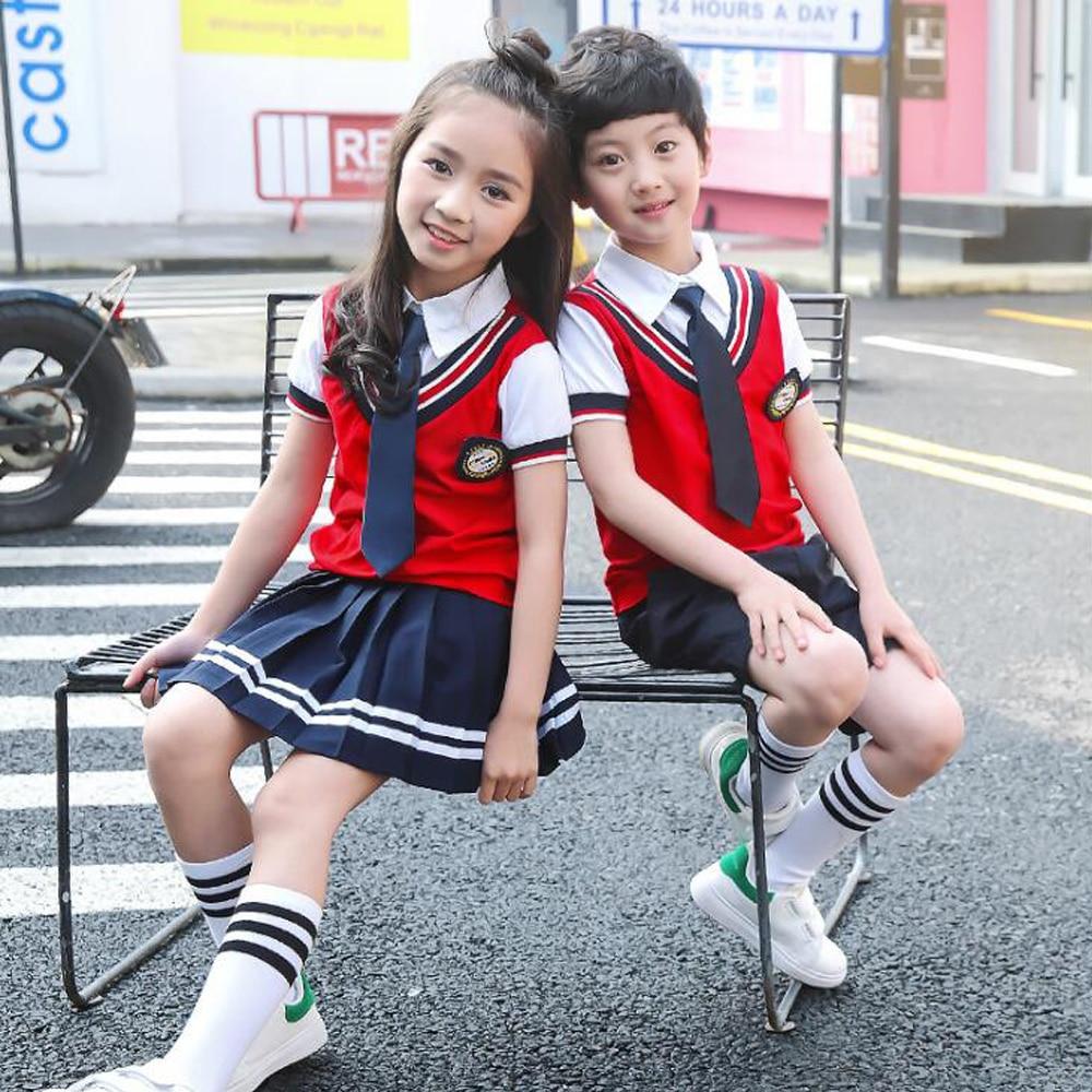 Children Japanese Korean School Uniform For Girls Boys Vest Shirt Tops Navy Skirt Shorts Tie Kid Student Summer Clothes Outfits