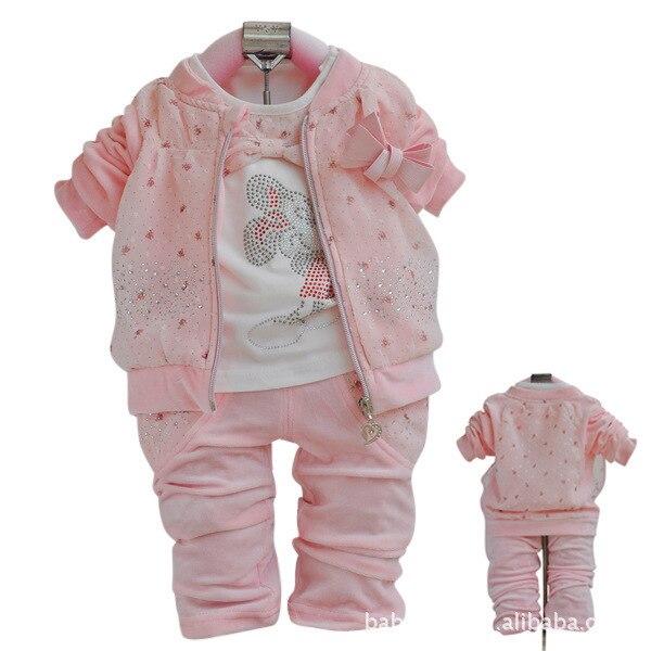 Anlencool Бесплатная доставка babyrow бархат трех частей девушка Осень одежда для новорожденных марка baby girl одежда устанавливает новые детские одежда набор