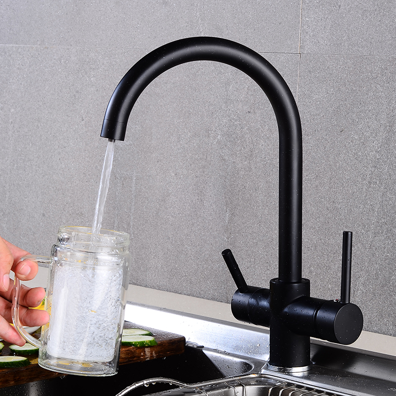 Black Bending Drinking Water Purification Tap Kitchen Sink  Mixer 360 Degree Rotation With Filtered Water Kitchen Faucet