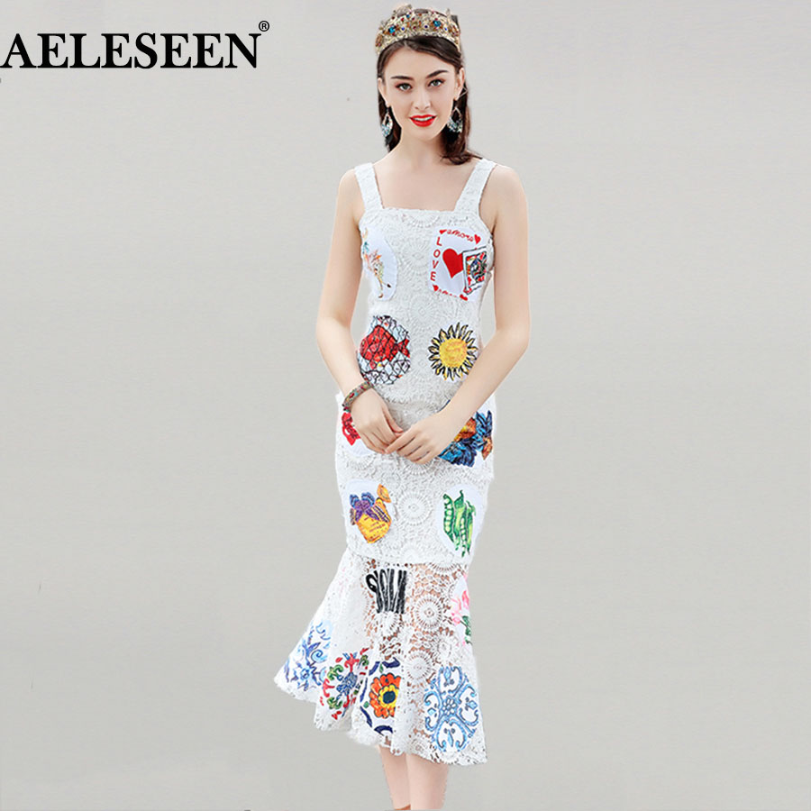 Fresh Women Trumpet Dresses Fashion Sleeveless 2018 High Quality White Appliques Slim Early Spring Spaghetti Strap Runway Dress нагрузочная вилка орион hв 01