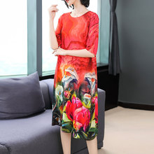 Red 2019 Summer Flowing Pure Silk Dress Plus Size Big for Women High Quality Midi Loose Elegant Chinese Vintage Robe Clothing