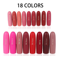 18pcs/lot Miss Rose Velvet Matte Lipstick Waterproof Vampire Brown Beauty Red Baby Lips Batom Nude Makeup Free Shipping