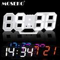 MOSEKO 3D цифровые настенные часы с настольной подставкой многофункциональная Дата температура 3 уровня яркость регулируемый светодиодный Буд...