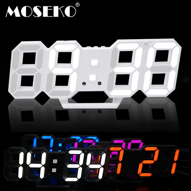 MOSEKO 3D Digital Wall Clock with Desk Table Stand Multifunction