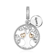 925 Silver rose gold Beads family the tree of life Charms Fit Authentic Pandora Bracelets Fashion Jewelry Making family gift family life
