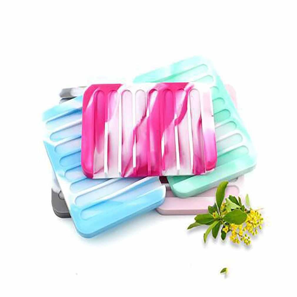 Soporte de jabón de silicona antideslizante bandeja de jabón caja de drenaje plato de jabón Flexible antideslizante para jabón soporte bandeja de plato escurridor para Baño