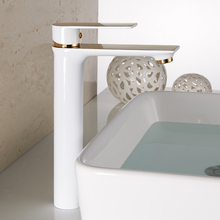 Bathroom Sink Faucet Chrome White Baked Water Tap Solid Brass Single Handle Basin Faucet Mixer Hot and Cold Deck Mounted solid brass bathroom sink faucet single handle waterfall spout basin mixer tap hot and cold water faucet deck mounted