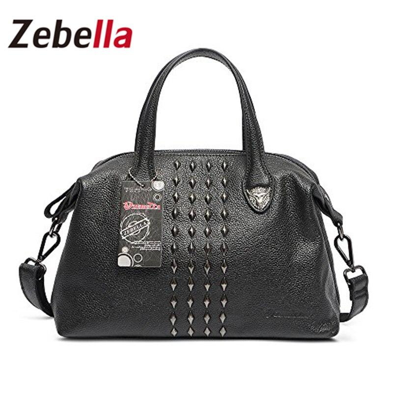 ФОТО Zebella 2017 New Genuine Leather Luxury Handbags Women Bags Designer Tote Bags Shoulder Bag For Female Casual bolsos mujer